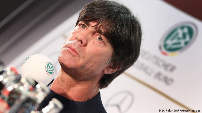 Joachim Loew, head coach of the German national football team addresses a press conference in Frankfurt am Main, central Germany, on May 16, 2013. Loew named an inexperienced squad for their two-match tour of the United States with many first-choice stars unavailable due to the Champions League final between Borussia Dortmund and Bayern Munich. AFP PHOTO / DANIEL ROLAND (Photo credit should read DANIEL ROLAND/AFP/Getty Images)