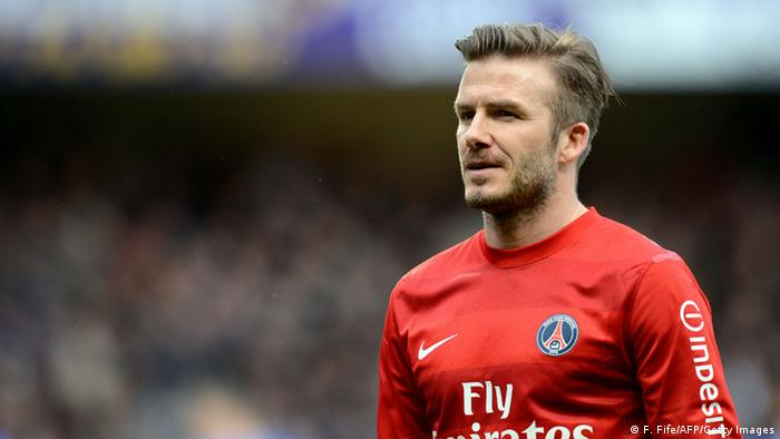 Paris Saint-Germain's British midfielder David Beckham reacts during the French L1 football match Troyes vs Paris Saint-Germain on April 13, 2013 at the Aube Stadium in Troyes. Paris won 0-1. AFP PHOTO / FRANCK FIFE (Photo credit should read FRANCK FIFE/AFP/Getty Images)