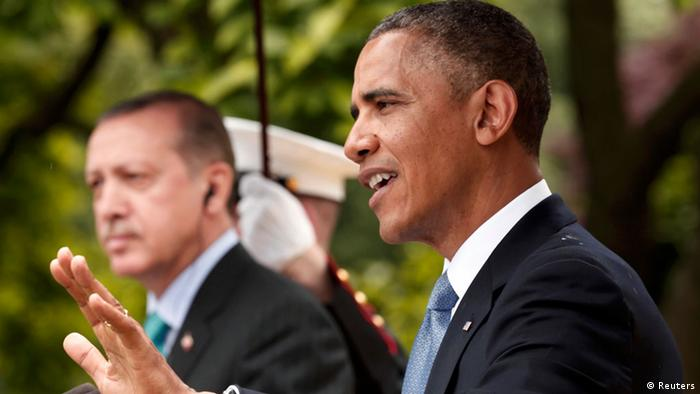 U.S. President Barack Obama (R) and Turkish Prime Minister Recep Tayyip Erdogan hold a joint news conference in the White House Rose Garden in Washington, May 16, 2013. REUTERS/Kevin Lamarque (UNITED STATES - Tags: POLITICS)