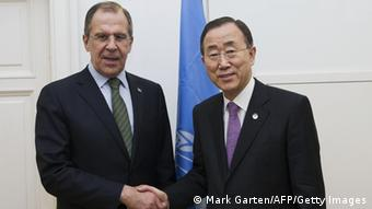 In this handout picture taken on February 16, 2012, Russian Foreign Minister Sergei Lavrov (L) shakes hands with United Nations Secretary General Ban Ki-Moon during a UN meeting on drugs in Afghanistan which gathered officials from some 55 countries, at the Hofburg Palace in Vienna. The UN chief urged Afghanistan to make fighting drug trafficking a priority as opium harvests soar in the world's top producer, and said the world must help in the effort. AFP PHOTO / UN / MARK GARTEN RESTRICTED TO EDITORIAL USE - MANDATORY CREDIT 'AFP PHOTO / UN / MARK GARTEN' - NO MARKETING NO ADVERTISING CAMPAIGNS - DISTRIBUTED AS A SERVICE TO CLIENTS (Photo credit should read MARK GARTEN/AFP/Getty Images)