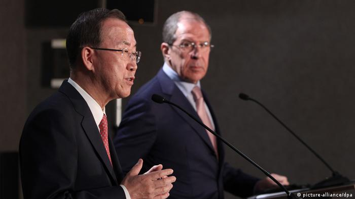 UN Secretary-General Ban Ki-moon, left, and Russian Foreign Minister Sergey Lavrov at a news conference following the talks in Sochi. Mihail Mokrushin/RIA Novosti pixel