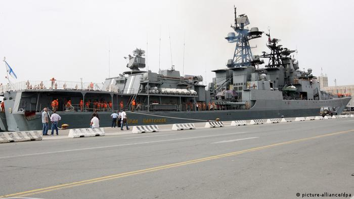 The Russian 'Admiral Panteleyev' destroyer is moored in the port of Limassol, Cyprus Photo: EPA/KATIA CHRISTODOULOU