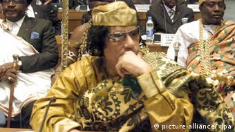 Libyan leader Moammar Gaddafi attends the opening of the African heads of State summit in Addis Ababa, Ethiopia on 02 February 2009. African heads of states and governments designated the Libyan leader Moammar Gaddafi to chair the African Union for one year. Gadhafi's election at the head of the African Union could give Libya the opportunity to follow closely the ongoing efforts to organize peace talks between Sudan government and Darfur main rebel movements EPA/SABRI ALMHEDWI +++(c) dpa - Report+++