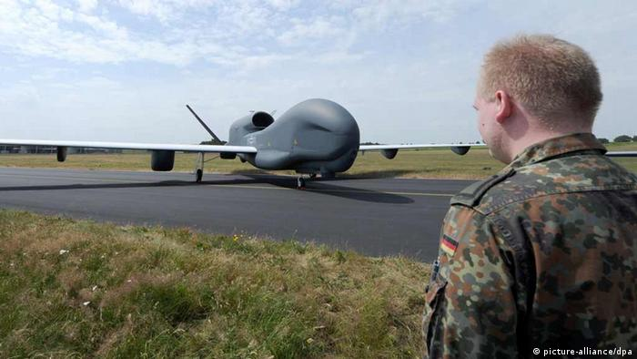 The drone 'Euro Hawk' stands on the airfield of the reconnaissance squadron 51 'Immelmann' in Jagel, Germany, 8 July 2010. (Photo: dpa)