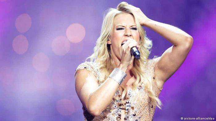 Singer Natalie Horler from the band Cascada representing Germany performing during the Grand Final of the Eurovision Song Contest 2013 in Malmo, Sweden, 18 May 2013. The annual event is watched by millions of television viewers who also take part in voting. Photo: Joerg Carstensen/dpa +++(c) dpa - Bildfunk+++