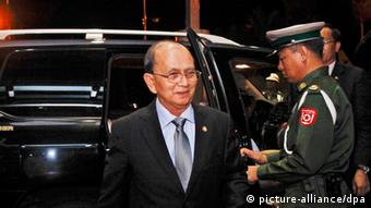Myanmar president Thein Sein visits to United States of America epa03705259 Myanmar president Thein Sein (C) arrives at Yangon International Airport, in Yangon, Myanmar, 17 May 2013. Myanmar president Thein Sein departed for his landmark visit to United States of America as the first Myanmar president for almost half a century after dictator General Nay Win's visit on 1964. EPA/LYNN BO BO