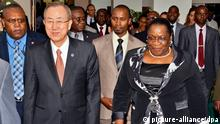 epa03709117 UN Secretary General, Ban Ki-moon (2-L), and President of Mozambican Parliament, Veronica Macamo (R), are seen during a meeting in Maputo, Mozambique, 20 May 2013. EPA/ANTONIO SILVA