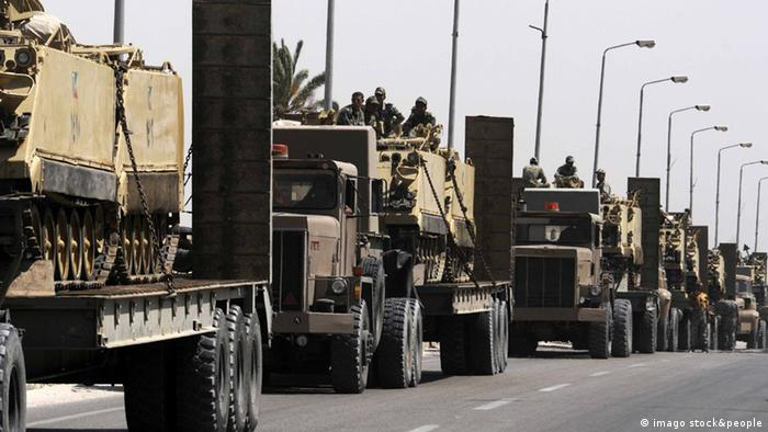 Egyptian Army vehicles with tanks head to al-Arish in northern Sinai, near the Rafah border crossing between Egypt and the Gaza strip, Egypt, May 20, 2013.