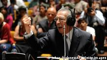 Former Guatemalan dictator (1982-1983) retired General Jose Efrain Rios Montt (86),speaks during his trial on charges of genocide committed during his regime, in Guatemala City on May 9, 2013. The trial against Ríos Montt, initiated 50 days ago, entered the final phase, after the judges rejected the petitions of his lawyers to postpone it and the district attorney's office requested a 75 years of imprisonment sentence. AFP PHOTO/Johan ORDONEZ (Photo credit should read JOHAN ORDONEZ/AFP/Getty Images)