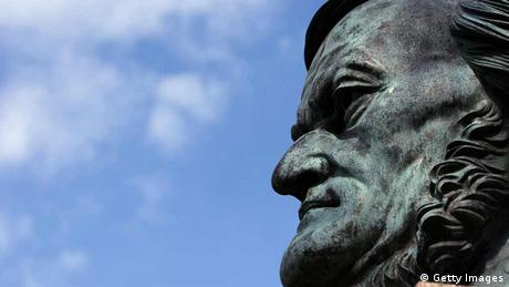 Richard Wagner's face in a close-up of a statue in Bayreuth