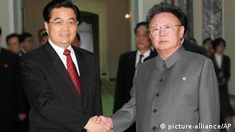 Kim Jong Il trifft Hu Jintao 2005