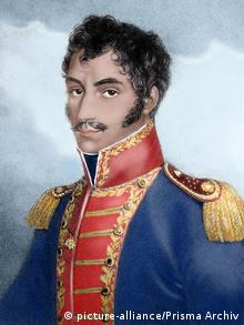 BOLIVAR, Simon (Caracas, 1793-Santa Marta, 1830). Military and Venezuelan statesman called The Liberator. Colored engraving.