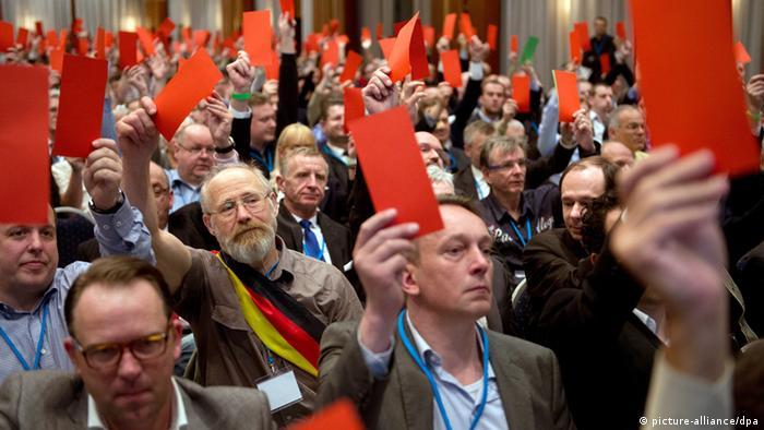 Члены партии Альтернатива для Германии показывают крсные карточки