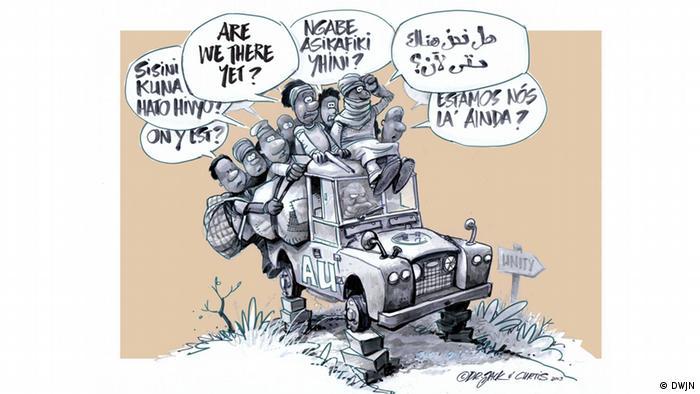 Karikatur von John Swanepoel und John Curtis (Dr Jack & Curtis), Südafrika Are we there yet?(Foto: DWJN (Dritte Welt Journalisten Netz))