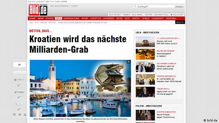 A screenshot of the Bild.de front page, taken on May 23, 2013.