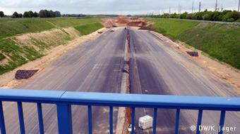Section of an autobahn being built to make space for brown coal mining