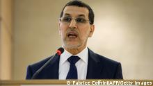 Moroccan Minister for Foreign Affairs and Cooperation, Saad-Eddine El Othmani addresses the assembly on the opening day of the 22nd session of the United Nations Human Rights Council on February 25, 2013 in Geneva. AFP PHOTO / FABRICE COFFRINI (Photo credit should read FABRICE COFFRINI/AFP/Getty Images)