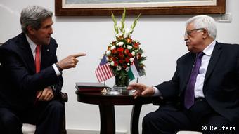 U.S. Secretary of State John Kerry (L) meets with Palestinian President Mahmoud Abbas REUTERS/Jim Young