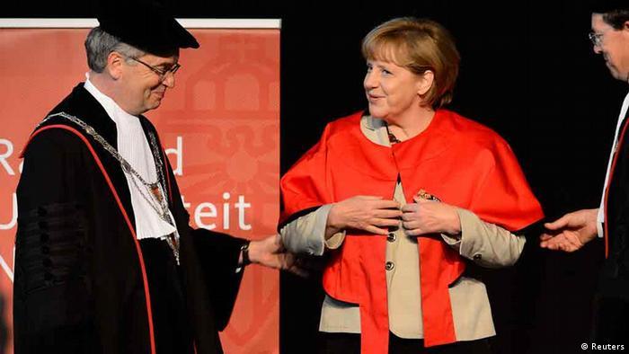 Angela Merkel receiving an honorary doctorate in Nimwegen in 2013