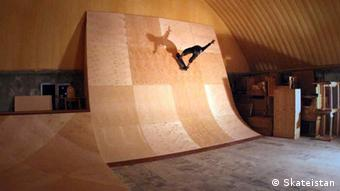 Half-pipe ramps in the new skatepark Copyright: Skateistan
