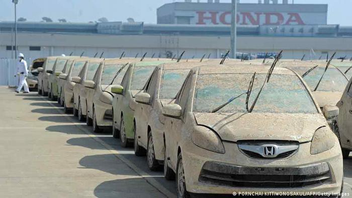 Honda cars sit at a factory in Thailand.