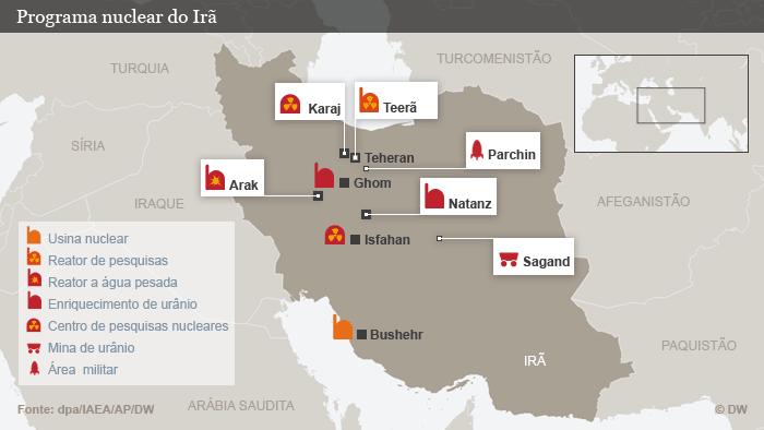 Infografik Atomprogramm des Iran Portugiesisch