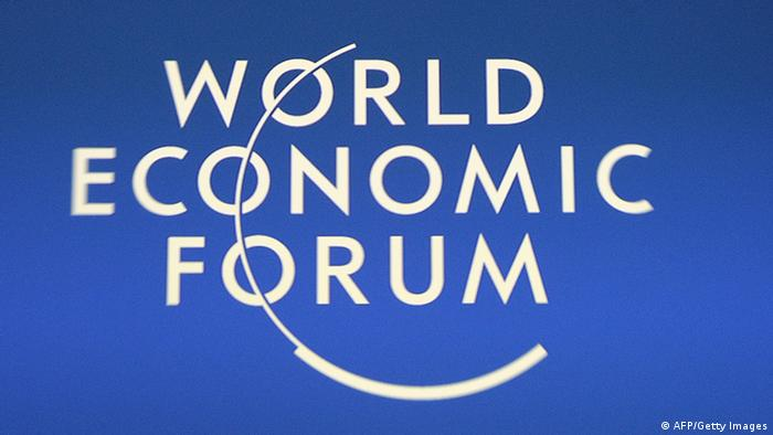 A logo of the World Economic Forum , January 25, 2011 in Davos.