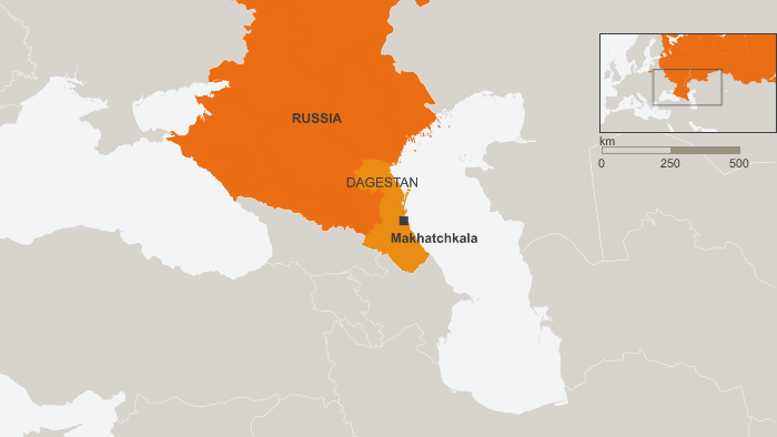 Map of Russia, showing Dagestan