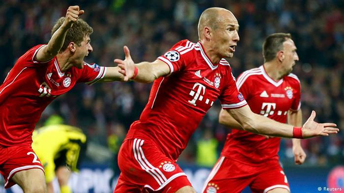 Bayern Munich's Arjen Robben celebrates after scoring during their Champions League Final soccer match against Borussia Dortmund at Wembley Stadium in London.(Photo: REUTERS/Stefan Wermuth /DW)