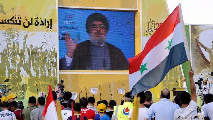 Hasan Nasrallah auf einer Kundgebung im Libanon (Foto: Reuters)
