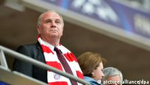 Munich's president Uli Hoeneß seen on the stands during the UEFA soccer Champions League final between Borussia Dortmund and Bayern Munich at Wembley stadium in London, England, 25 May 2013. Photo: Peter Kneffel/dpa