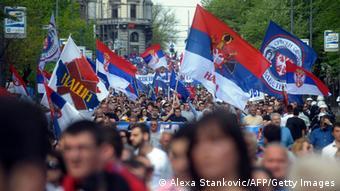 Протест в Белграде против соглашения о нормализации отношений с Косово