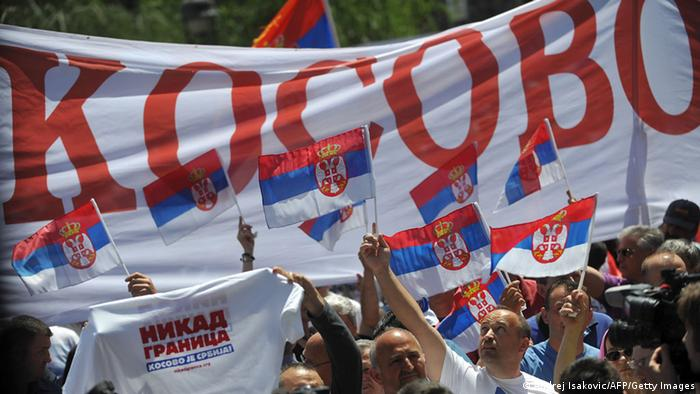 A protest against the accord on the normalisation of relations between Serbia and Kosovo AFP PHOTO / ANDREJ ISAKOVIC
