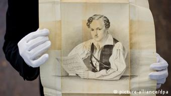 Drawing of Georg Büchner (photo: Nicolas Armer/dpa pixel)