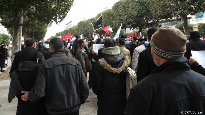 Jugendliche bei der Demonstration der Ennahdha Partei in Tunis