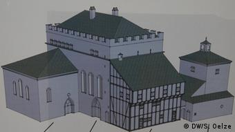 A digital reconstruction of the Jewish synagogue in Cologne as it looked in the 13th century