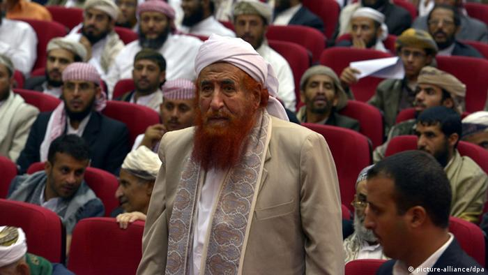 epa03402686 Yemen's most prominent cleric Sheikh Abdul Majeed al-Zindani, identified by the US as a supporter of terrorism, attends a gathering of Muslim clerics and tribal leaders in Sana'a, Yemen, 19 September 2012. Reports state Yemeni Muslim clerics called a platoon of US Marines to leave Yemen immediately after angry protesters stormed the US embassy in protest over a film deemed abusive to Islam and the Prophet Mohammed. EPA/YAHYA ARHAB