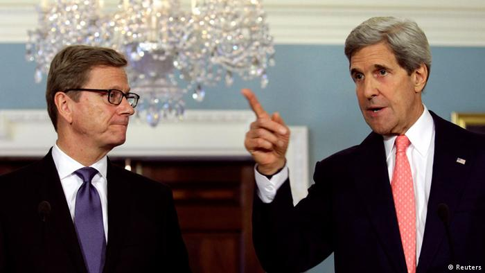 U.S. Secretary of State John Kerry (R) speaks to the media next to German Foreign Minister Guido Westerwelle after their meeting at the State Department in Washington May 31, 2013. REUTERS/Yuri Gripas (UNITED STATES - Tags: POLITICS)