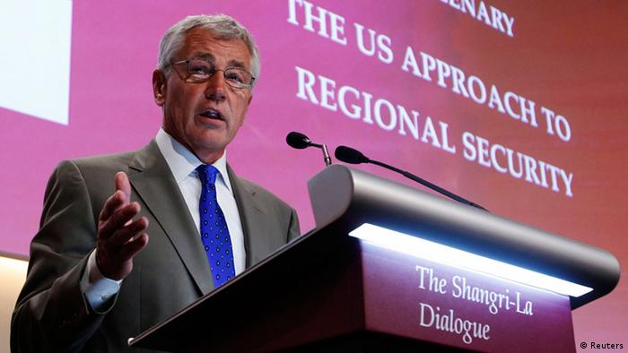 U.S. Defense Secretary Chuck Hagel speaks during the first plenary session of the 12th International Institute for Strategic Studies (IISS) Asia Security Summit: The Shangri-La Dialogue, in Singapore June 1, 2013. REUTERS/Edgar Su (SINGAPORE - Tags: MILITARY POLITICS)