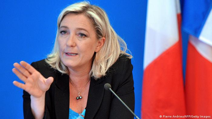 President of French far-right Front National (FN) party Marine Le Pen speaks during a press conference on March 26, 2013 at the party's headquarters in Nanterre, near Paris. AFP PHOTO / PIERRE ANDRIEU (Photo credit should read PIERRE ANDRIEU/AFP/Getty Images)