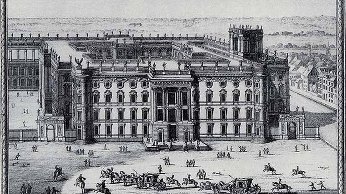 Городской дворец, эскиз Андреаса Шлютера, 1702 г.
