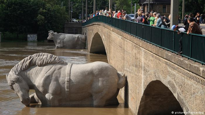 Large statues of a horse and cow disappear under the floodwaters running under a bridge as curious onlookers stare down from above. (Photo: Frederik Wolf/dpa)