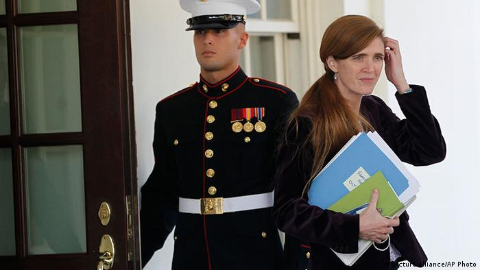 FILE - In this Oct. 12, 2010 file photo, Samantha Power, former Senior Director for Multilateral Affairs and Human Rights at the National Security Council and foreign policy adviser to President Barack Obama, emerges from the West Wing of the White House in Washington. A White House official says President Barack Obama will name former aide Samantha Power as the U.S. ambassador to the United Nations. Power is a longtime Obama adviser who worked on his 2008 presidential campaign and ran the human rights office in the White House. She left the administration in February but was considered the favorite to replace Rice at the U.N. (AP Photo/Charles Dharapak)