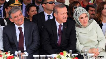 Turkish Prime Minister Recep Tayyip Erdogan (C), his wife Emine Erdogan (R) and Turkish president Abdullah Gul (L) attend the opening ceremony of the third Bosphorus bridge on May 29, 2013 in Istanbul. (Photo: AFP /MIRA /Getty Images)