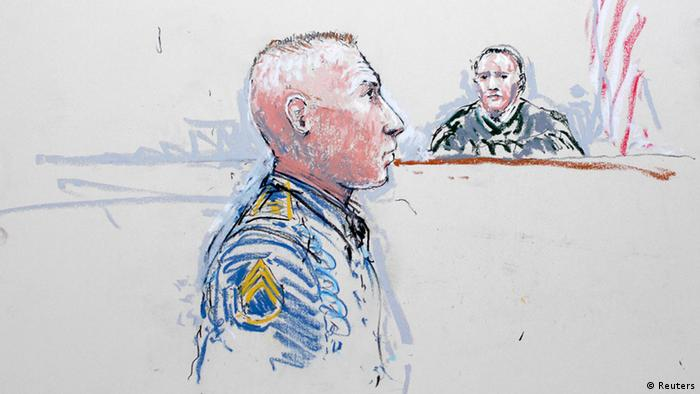 Army Staff Sergeant Robert Bales (L) and Judge Col. Jeffery R. Nance are seen in a sketch from January 17, 2013, as Bales is arraigned on 16 counts of premeditated murder, six counts of attempted murder and seven of assault at Joint Base Lewis-McChord, Washington. Bales, charged with killing 16 Afghan civilians in cold blood was due in court on June 5, 2013, for a court-martial proceeding in which he is expected to plead guilty under a deal with military prosecutors to avoid the death penalty. REUTERS/Peter Millett/Files (UNITED STATES - Tags: MILITARY CRIME LAW)