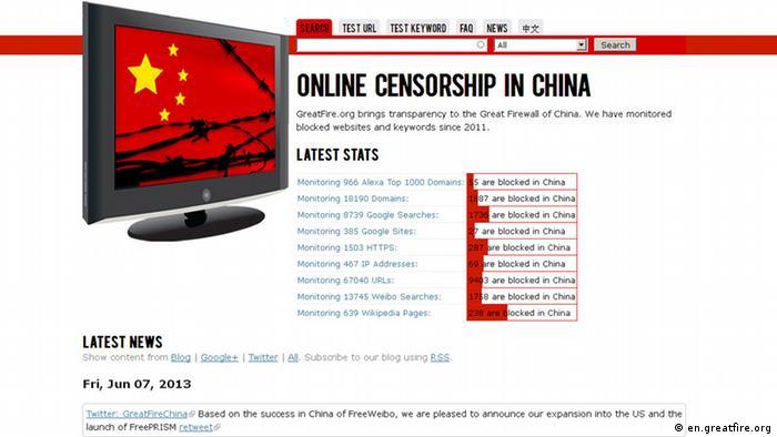 Скриншот сайта о китайской цензуре en.greatfire.org