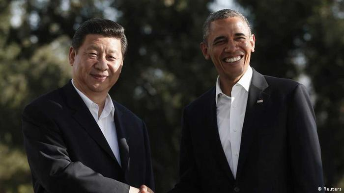 U.S. President Barack Obama meets Chinese President Xi Jinping at The Annenberg Retreat at Sunnylands in Rancho Mirage, California June 7, 2013. Obama said on Friday he welcomed the peaceful rise of China and that, despite inevitable areas of tension, both countries want a cooperative relationship, as he and Xi kicked off two days of meetings. REUTERS/Kevin Lamarque (UNITED STATES - Tags: POLITICS TPX IMAGES OF THE DAY) eingestellt von qu