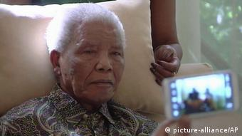 Nelson Mandela looking weak in April 2013 (AP Photo/SABC TV)