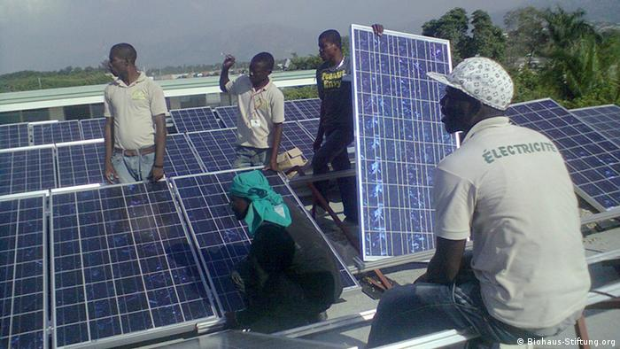 Solar array being installed at Haiti children's hospital (photo: Biohaus-Stiftung.org)