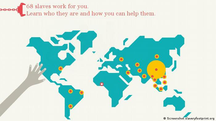 Screenshot from website slaveryfootprint.org showing a map of the world.